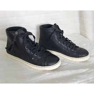 UGG BLANEY Sz 8/39 Black Leather High-Top Sneakers